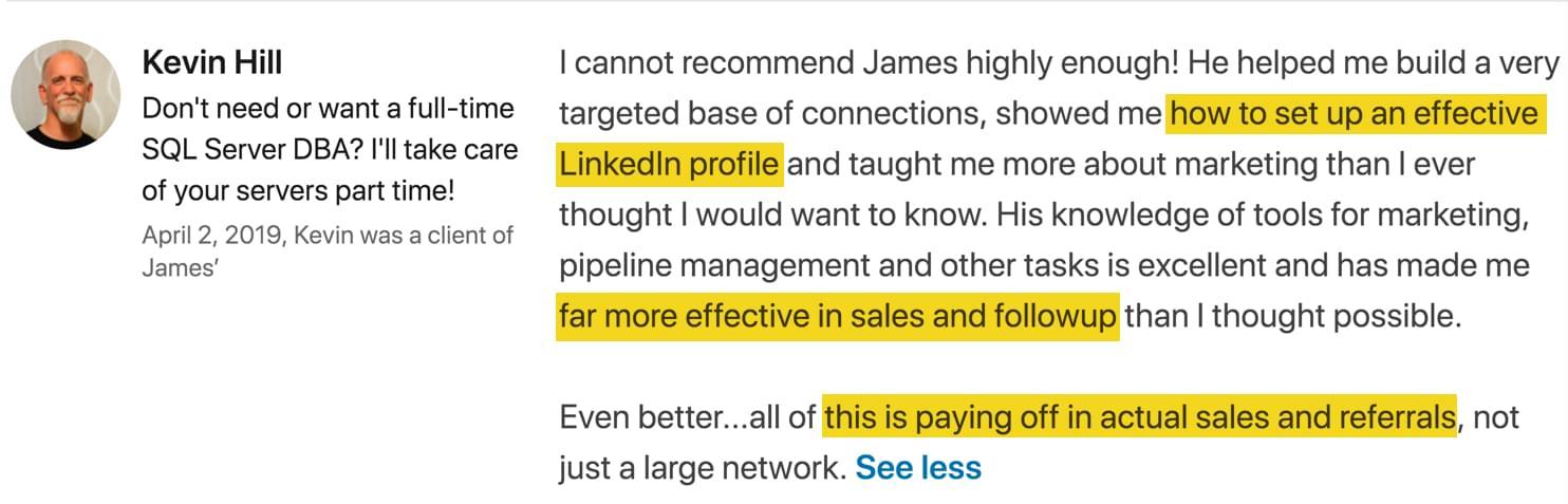 James Watson LinkedIn Recommendations