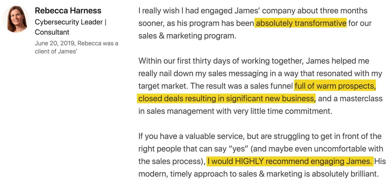 James Watson LinkedIn Recommendation Rebecca