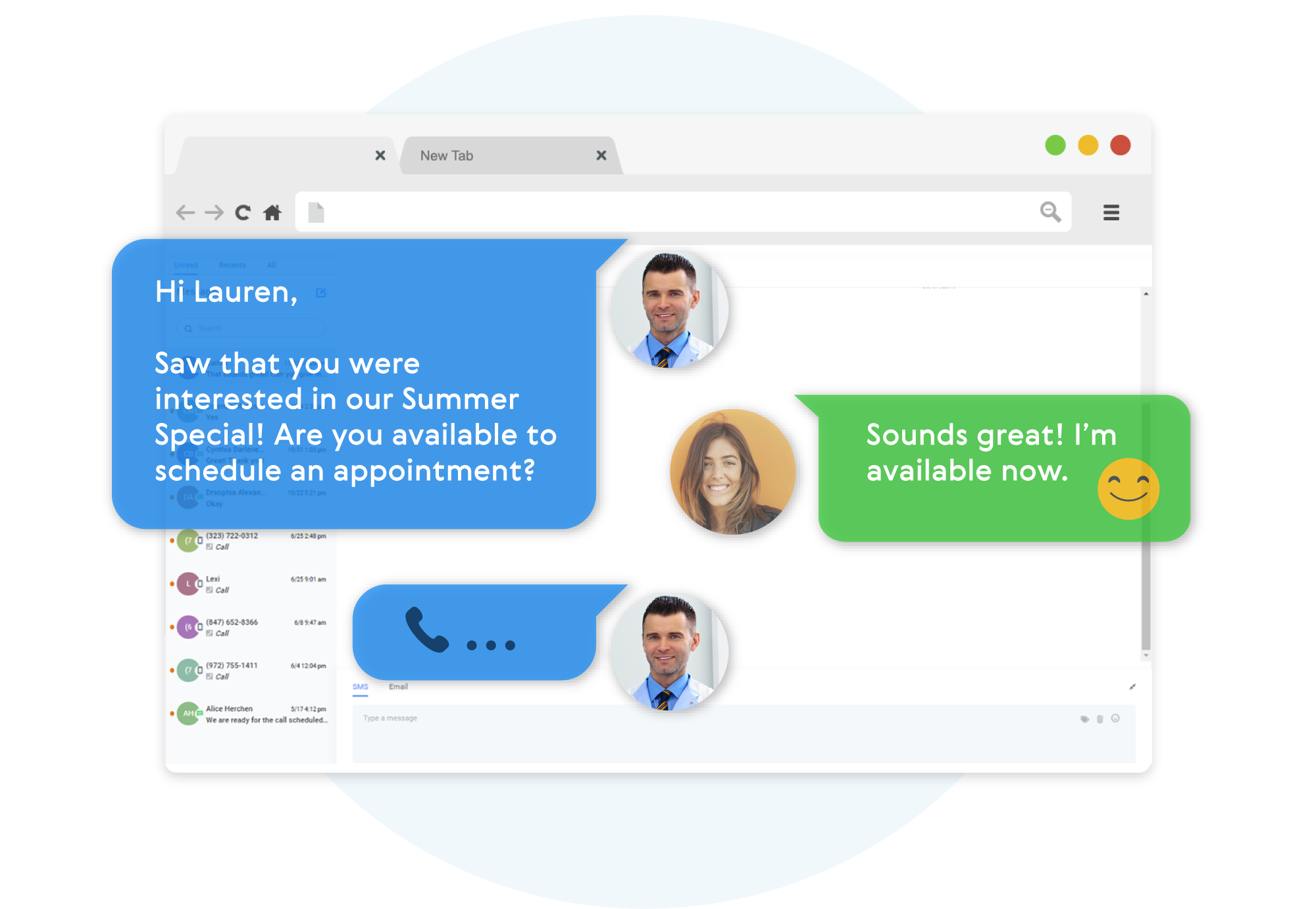 Messaging example between a doctor and a patient setting an appointment