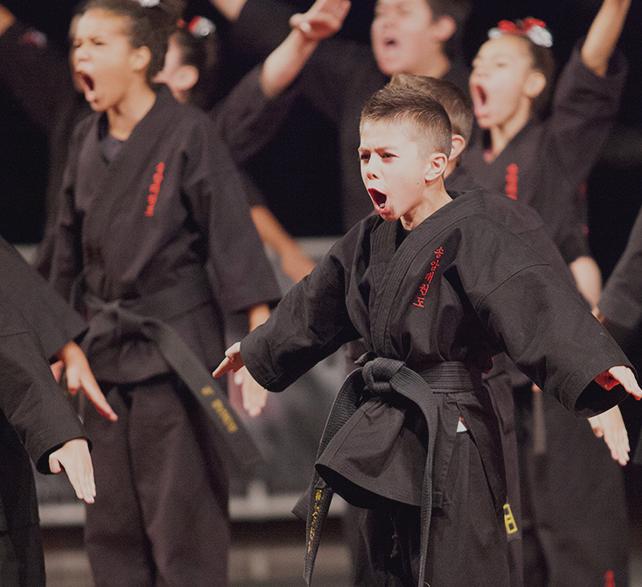 intense martial artist performing