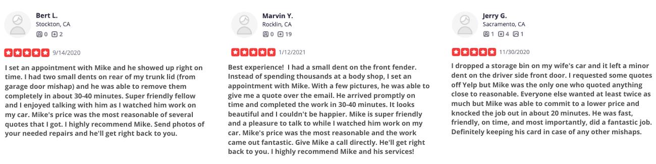 Mobile dent repair reviews