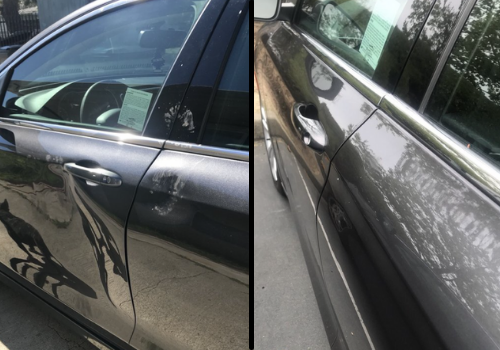 Dent repair - before and after