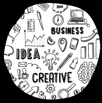 business idea creative words in illustration
