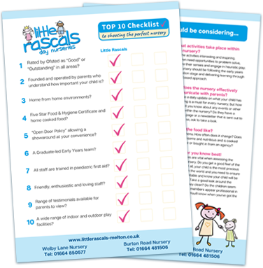Free Top 10 Checklist from Little Rascals Day Nurseries